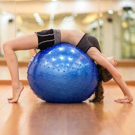 Leyaton Dikenli Yoga Pilates Aeorobik Jimnastik Topu 65 cm + Pompa Hediyeli Dayanıklı PVC