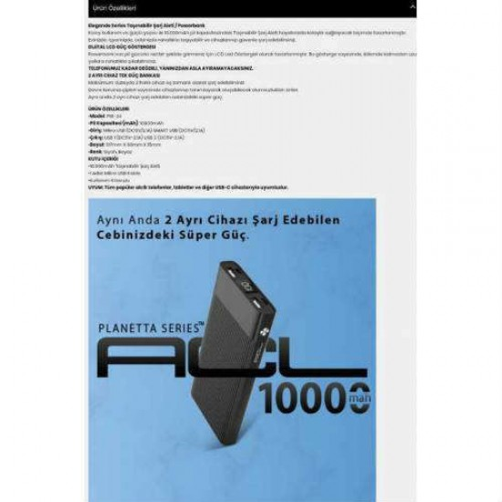PW-24 Planetta Series 10000 mAh Taşınabilir Şarj Aleti-Powerbank
